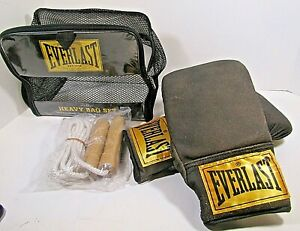 Everlast Heavy Bag Gloves Vintage Look Synthetic Leather  L/XL and Jump Rope4302