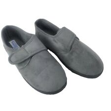 Mens HealthRite by Haband Lounge Slippers Grey Faux Suede Microfiber Size 12 3E