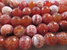 Crab Fire Agate Faceted 14mm Round Beads 28pcs