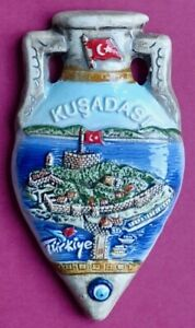 Souvenir Fridge Magnet Kusadasi Pigeon Island Amphora Turkey