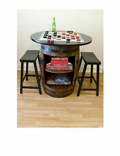 """Whiskey Barrel Game Cabinet -36"""" Table Top Checker Board-Checkers- 2 Bar Stools"""