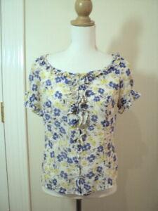 + review floral pretty shirt top 10 1940s print blue black beige lemon