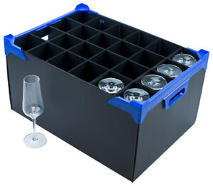 Tall Champagne Glass Storage Box - 24 Cells - Compartment Size H260 x D78mm