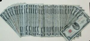 (37) Count 1953 $2 Red Seal Note Bill Lot - 37 Notes