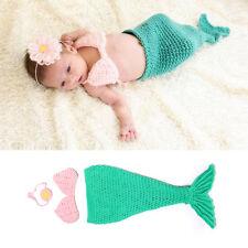 Baby Girls Knit Crochet Pink Hairband Bra Blue Mermaid Costume Photography Props