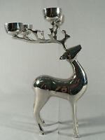 Cast metal Deer statue 4 candle tea light holder antlers lodge cabin figurine