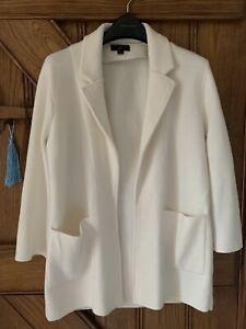 J CREW Size S Sweater-blazer Cardigan White/Cream Cotton/ Merino/polyester Mix