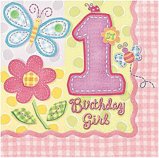 1ST BIRTHDAY GIRL Hugs & Stitches LUNCH NAPKINS (16) ~ Party Supplies Pink Baby