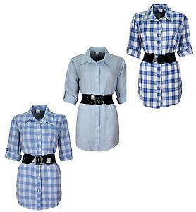 Ladies Womens Check Shirt With Waist Belt KK16