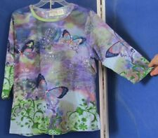 EUC Butterfly Print TUNIC TOP of ESSENTIALS by MAGGIE w.BLING 100% Cotton 18/20W