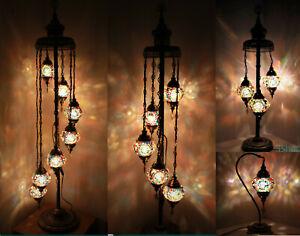 Beautiful 1/3/5/7 Muti Colour Ball Turkish Moroccan Glass Floor/Table Lamp