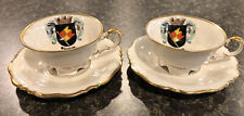 2 Antique Demi Tasse Cups And Saucers Sets Bavaria Wurzburg Souvenir 50+ Yrs Old