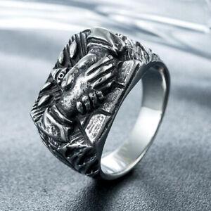 Men's Jewelry Masonic Brotherhood Ring Stainless Steel God Eye Pyramid Ring Band