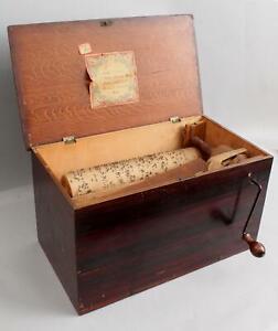 19thC Primitive Antique 4-Tune Crank Organ, Rosewood Grained Paint Wood Case
