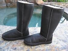 Sheepskin Leather & Wool Lined Quality Classic Tall Boots Brown Wm Sz 8