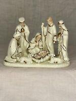 "Vtg Porcelain Nativity Scene One Piece Figurine White Gold Painted 6"" x 4"""