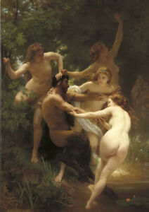 W.Bouguereau - Nymphs and Satyr - Large A2 size Canvas Art Print Poster Unframed