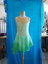 green figure skating dress for girls custom ice skating dress competition yike