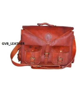Broad Leather messenger laptop bag computer shoulder Office satchel Briefcase