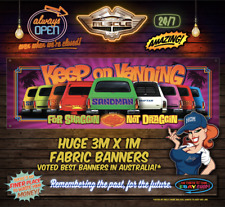 HOLDEN  KEEP ON VANNING BANNER 3m x 1m MAGENTA VERSION SANDMAN SUNDOWNER DRIFTER
