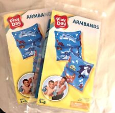 New listing New 2 Pair, Play Day Inflatable Armbands Children's Swim Dolphin Blue Ages 3-6