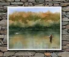 """Fly Fishing Art Print """"SERENITY"""" Watercolor Signed by Artist DJR"""