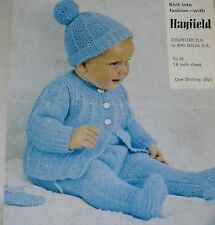 "#40 Baby Boy Girl 18"" DK Coat, Mitts, Hat & Leggings Vintage Knitting Pattern"