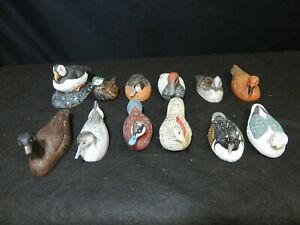 VINTAGE SMALL HAND CARVED WOODEND DUCK DECOY FIGURES LOT 12 PC