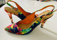 Nine West Gillian Tiedye Floral Multicolor Pumps Slingback Heels Size 8