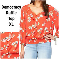 New Democracy Women XL Lydia Peasant Top Blouse Shirt Poppy Red Floral Ruffles