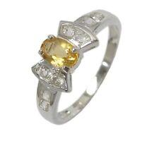 Ring Size 7.5 Or O1/2 Bow Setting Citrine & Topaz Feminine 925 S/S