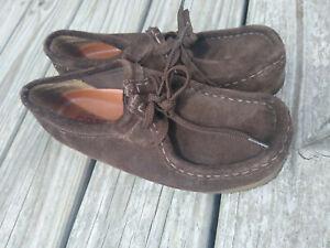 Big Kids Clarks Originals Wallabee Dark Brown Size 5.5M