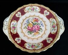 "ROYAL ALBERT CAKE/PLATE ""LADY HAMILTON"" ENGLISH VINTAGE C1945-50"