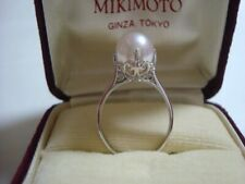 "Authentic ""MIKIMOTO"" platinum 9.3mm Akaya  Pearl    Ring"
