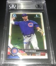Nico Hoerner Chicago Cubs Bowman SIGNED 2018 BOWMAN CHROME BECKETT CERTIFIED A