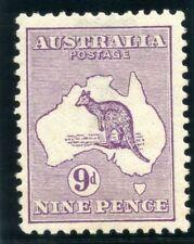 """Australia 1913 """"Roo"""" 9d violet (Die II) MLH. SG 10. Sc 9."""