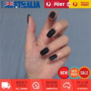 24pc Medium Matte Black Fake Nail Tip Glue On Reusable False Press On Artificial
