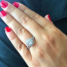 1.50c Oval Prong Engagement Ring Man Made Diamond Simulant Sterling Silver .925