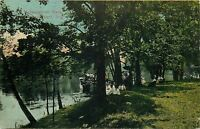 Elkhart Indiana~McNaughton Park~Victorian Ladies & Gents at Boat Dock~1912 PC