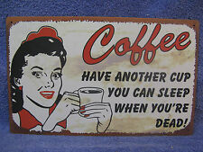 Sleep When Dead Coffee Kitchen FUNNY Tin Metal Sign Decor NEW