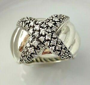 "David Yurman Sterling Silver Natural Diamond ""X"" Wide Ring Size 7.5"