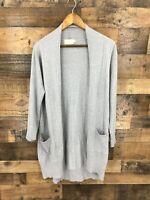 Dreamers Women's Grey Soft Open Front Long Cardigan Sweater Size L