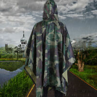 Waterproof Army Hooded Ripstop  Rain Poncho Military Camping Outdoor