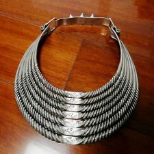 Chinese ExoticTribal chinese handmade miao silver 7rings solid necklace