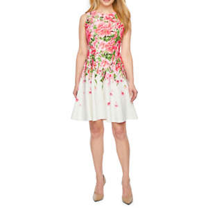 Danny & Nicole Sleeveless Floral Midi Fit & Flare Dress Size 10P New