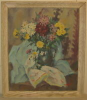 Original CLEMENT WEISBECKER Still life FLOWERS Oil PAINTING -Listed COMIC Artist