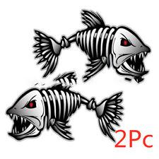 2Pcs Skeleton Fish Bones Vinyl Decal Sticker Kayak Fishing Boat Car Graphics EK~