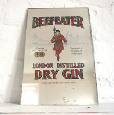 Frameless Antique Wall Mirror Drinks Promotion Advertising Pub Beefeater Gin
