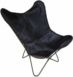 Black Genuine Leather Living Room Butterfly Chair, Home Chair, (Only Cover)