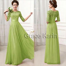 Plus Size Lace Chiffon Half Sleeve Wedding Bridesmaid Dress Formal Prom Gown New
